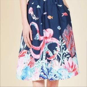 Modcloth Octopus Underwater Jelly Fish Skirt